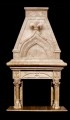 GOTHIC MANTLE HAND CARVED IN WHITE MARBLE FIREPLACE - MODEL MFP133