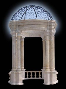 HAND CARVED TRAVERTINE EUROPEAN GARDEN GAZEBO W/ IRON DOME – MG109 1