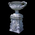 ITALIAN HAND CARVED WHITE MARBLE GARDEN URN AND PEDESTAL - MODEL MP113